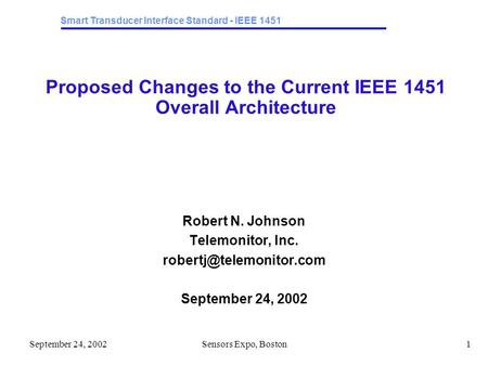 Smart Transducer Interface Standard - IEEE 1451 September 24, 2002Sensors Expo, Boston1 Proposed Changes to the Current IEEE 1451 Overall Architecture.