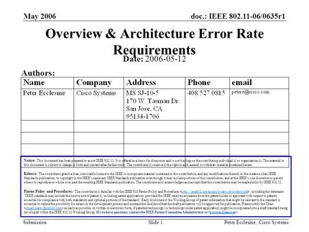 Doc.: IEEE 802.11-06/0635r1 Submission May 2006 Peter Ecclesine, Cisco SystemsSlide 1 Overview & Architecture Error Rate Requirements Notice: This document.