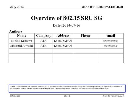 Doc.: IEEE 802.19-14/0046r0 Submission July 2014 Shoichi Kitazawa, ATRSlide 1 Overview of 802.15 SRU SG Notice: This document has been prepared to assist.