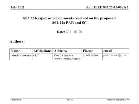 Doc.: IEEE 802.22-11/0085r2 Submission July 2011 Gerald Chouinard, CRCSlide 1 802.22 Response to Comments received on the proposed 802.22a PAR and 5C Date: