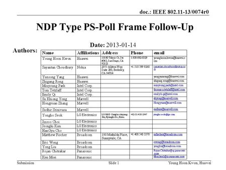Doc.: IEEE 802.11-13/0074r0 Submission NDP Type PS-Poll Frame Follow-Up Date: 2013-01-14 Authors: Slide 1Young Hoon Kwon, Huawei.