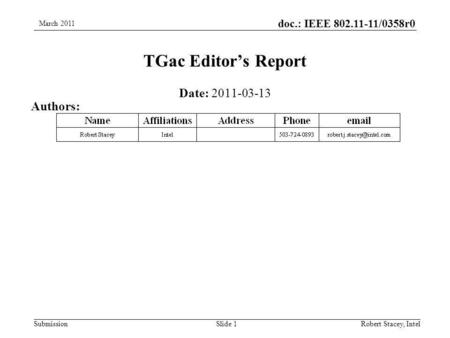 Doc.: IEEE 802.11-11/0358r0 SubmissionRobert Stacey, Intel TGac Editor's Report Date: 2011-03-13 Authors: Slide 1 March 2011.