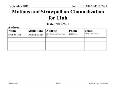 Doc.: IEEE 802.11-11/1329r1 Submission September 2011 Rolf de Vegt, QualcommSlide 1 Motions and Strawpoll on Channelization for 11ah Date: 2011-9-21 Authors: