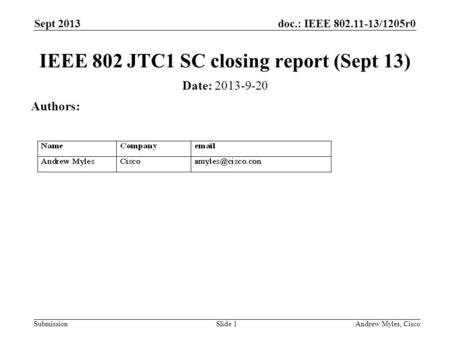 Doc.: IEEE 802.11-13/1205r0 Submission Sept 2013 Andrew Myles, CiscoSlide 1 IEEE 802 JTC1 SC closing report (Sept 13) Date: 2013-9-20 Authors: