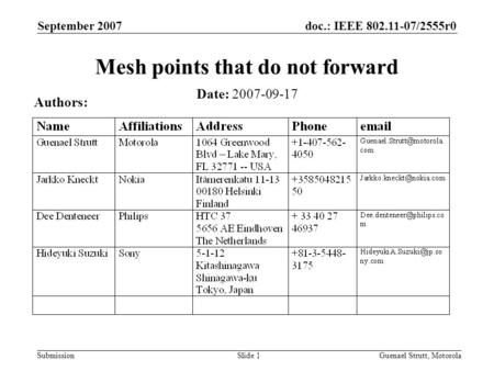 Doc.: IEEE 802.11-07/2555r0 Submission September 2007 Guenael Strutt, MotorolaSlide 1 Mesh points that do not forward Date: 2007-09-17 Authors: