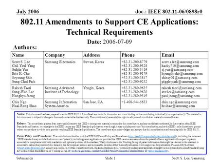 Doc.: IEEE 802.11-06/0898r0 Submission July 2006 Scott S. Lee, SamsungSlide 1 NameCompanyAddressPhoneEmail Scott S. Lee Chil-Youl Yang Sukjin Yun Eric.