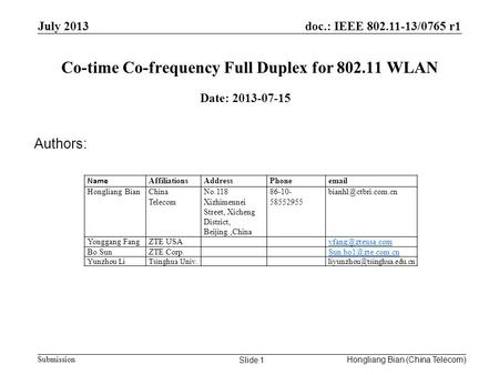 Doc.: IEEE 802.11-13/0765 r1 Submission Co-time Co-frequency Full Duplex for 802.11 WLAN July 2013 Hongliang Bian (China Telecom) Slide 1 Date: 2013-07-15.