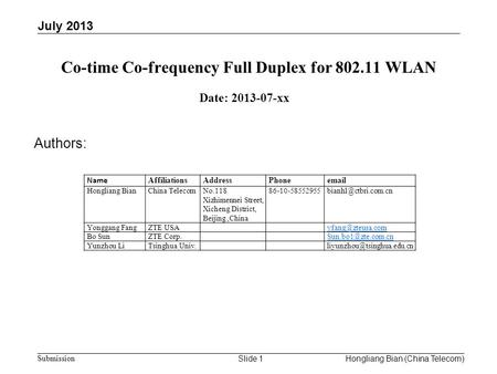 Doc.: IEEE 802.11-13/xxxx r0 Submission Co-time Co-frequency Full Duplex for 802.11 WLAN July 2013 Hongliang Bian (China Telecom)Slide 1 Date: 2013-07-xx.