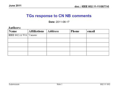 Doc.: IEEE 802.11-11/0877r0 Submission June 2011 802.11 WG Slide 1 TGs response to CN NB comments Date: 2011-06-17 Authors: