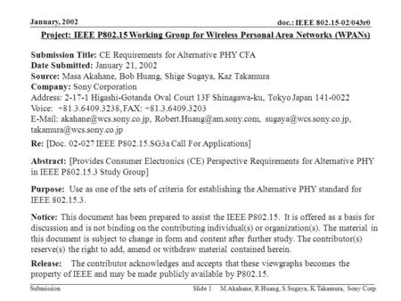 Doc.: IEEE 802.15-02/043r0 Submission January, 2002 M.Akahane, R.Huang, S.Sugaya, K.Takamura, Sony Corp.Slide 1 Project: IEEE P802.15 Working Group for.