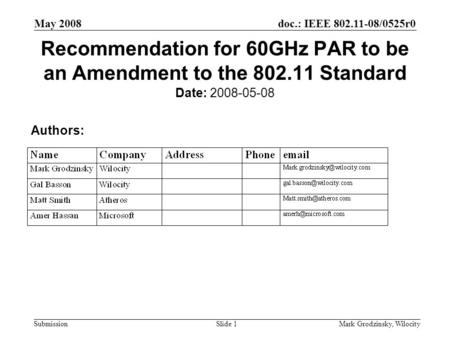 Doc.: IEEE 802.11-08/0525r0 Submission May 2008 Mark Grodzinsky, WilocitySlide 1 Recommendation for 60GHz PAR to be an Amendment to the 802.11 Standard.