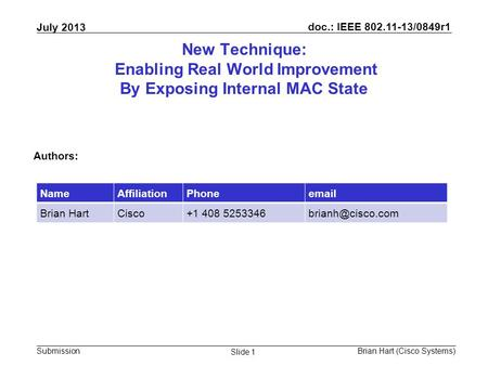 Doc.: IEEE 802.11-13/0849r1 Submission July 2013 Brian Hart (Cisco Systems) Slide 1 New Technique: Enabling Real World Improvement By Exposing Internal.