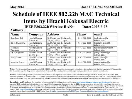 Doc.: IEEE 802.22-13/0083r0 Submission May 2013 Keat-Beng Toh, Hitachi Kokusai ElectricSlide 1 Schedule of IEEE 802.22b MAC Technical Items by Hitachi.