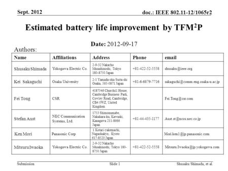 Submission doc.: IEEE 802.11-12/1065r2 Sept. 2012 Slide 1 Estimated battery life improvement by TFM 2 P Date: 2012-09-17 Authors: NameAffiliationsAddressPhoneemail.