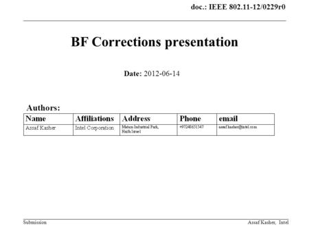 Doc.: IEEE 802.11-12/0229r0 SubmissionAssaf Kasher, Intel BF Corrections presentation Date: 2012-06-14 Authors: