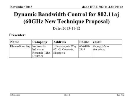 Doc.: IEEE 802.11-13/1291r2 SubmissionSlide 1 Date: 2013-11-12 Presenter: Dynamic Bandwidth Control for 802.11aj (60GHz New Technique Proposal) KB Png.