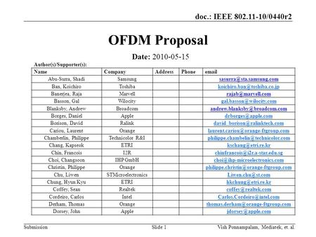 Doc.: IEEE 802.11-10/0440r2 SubmissionSlide 1 OFDM Proposal Date: 2010-05-15 Author(s)/Supporter(s): NameCompanyAddressPhone Abu-Surra,