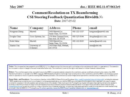 Doc.: IEEE 802.11-07/0612r0 Submission May 2007 H. Zhang., et al.Slide 1 Comment Resolution on TX Beamforming CSI/Steering Feedback Quantization Bitwidth.