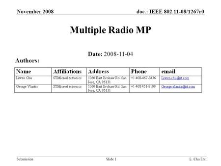 Doc.: IEEE 802.11-08/1267r0 Submission November 2008 L. Chu Etc.Slide 1 Multiple Radio MP Date: 2008-11-04 Authors: