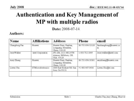 Doc.: IEEE 802.11-08-0317r6 Submission July 2008 Charles Fan,Amy Zhang, HuaweiSlide 1 Authentication and Key Management of MP with multiple radios Date: