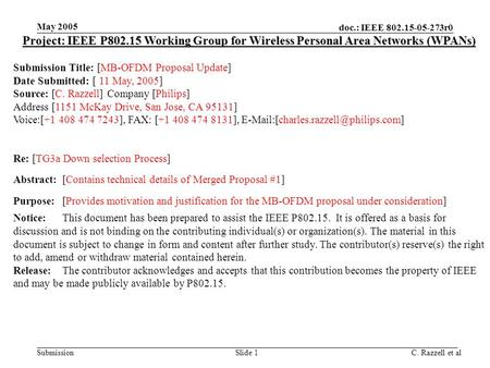 Doc.: IEEE 802.15-05-273r0 Submission May 2005 C. Razzell et alSlide 1 Project: IEEE P802.15 Working Group for Wireless Personal Area Networks (WPANs)