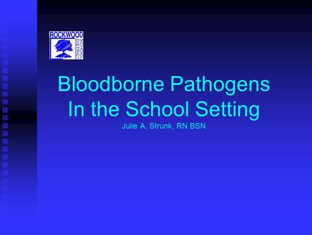 Bloodborne Pathogens In the School Setting Julie A. Strunk, RN BSN.