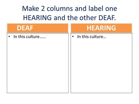 Make 2 columns and label one HEARING and the other DEAF. DEAF In this culture…… HEARING In this culture…