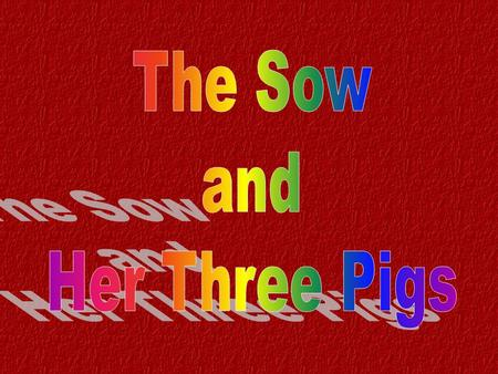 "There was an old sow and she had three pigs. She named them and called one Martha, one Mary, and one Nancy. And she said to Martha, ""I'm going to die,"