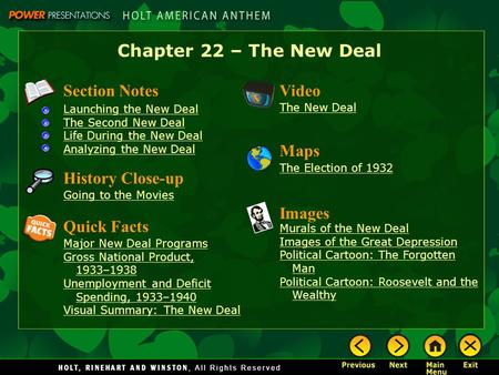 Chapter 22 – The New Deal Section Notes Launching the New Deal The Second New Deal Life During the New Deal Analyzing the New Deal Video The New Deal Images.