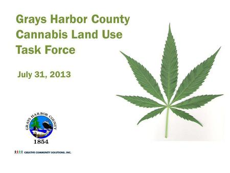 Grays Harbor County Cannabis Land Use Task Force July 31, 2013.