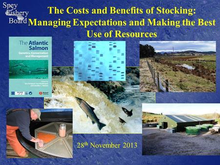 The Costs and Benefits of Stocking: Managing Expectations and Making the Best Use of Resources 28 th November 2013.