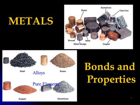 1 METALS Bonds and Properties Alloys Pure Elements.