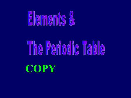 COPY. What is the periodic table? compact way of organizing elements contains a lot of information allows us to make predictions about behavior and properties.