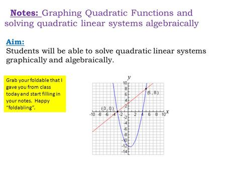 Notes: Graphing Quadratic Functions and solving quadratic linear systems algebraically Aim: Students will be able to solve quadratic linear systems graphically.