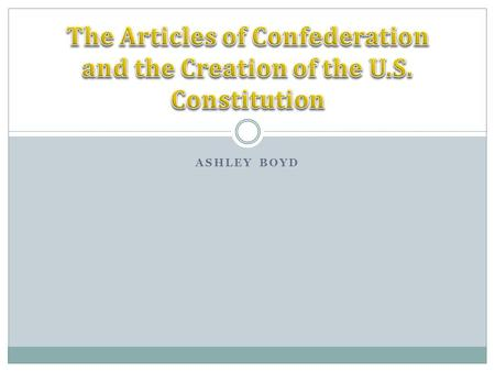 ASHLEY BOYD What was it? The Articles of Confederation was the first form of government established for the nation. The federal government under the.