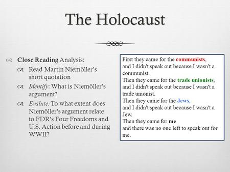 The Holocaust Close Reading Analysis: