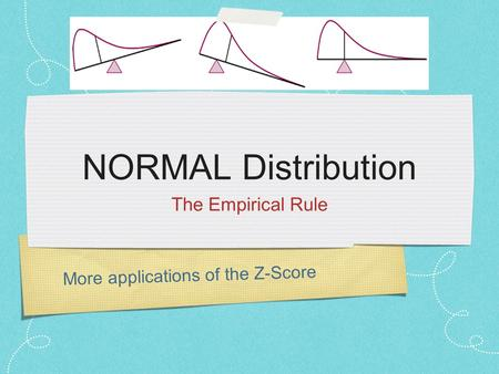 More applications of the Z-Score NORMAL Distribution The Empirical Rule.
