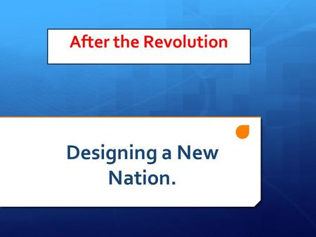 After the Revolution Designing a New Nation. AFTER THE REVOLUTION Background  Setting up the new Nation  NATIONAL GOVERNMENT  Strong Limited  Nationalists.