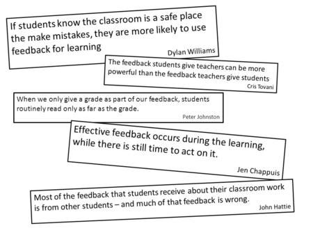 If students know the classroom is a safe place the make mistakes, they are more likely to use feedback for learning Dylan Williams The feedback students.