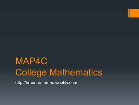 MAP4C College Mathematics