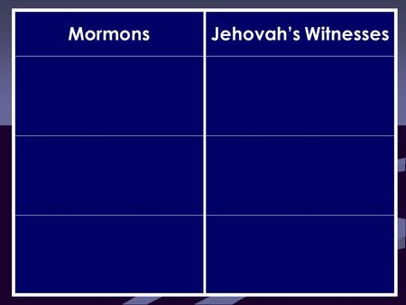 MormonsJehovah's Witnesses. MormonsJehovah's Witnesses Elohim is one of many gods Jehovah is the only true God.