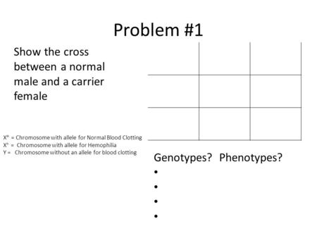 Problem #1 X H = Chromosome with allele for Normal Blood Clotting X h = Chromosome with allele for Hemophilia Y = Chromosome without an allele for blood.