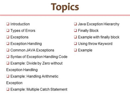  Introduction  Types of Errors  Exceptions  Exception Handling  Common JAVA Exceptions  Syntax of Exception Handling Code  Example: Divide by Zero.