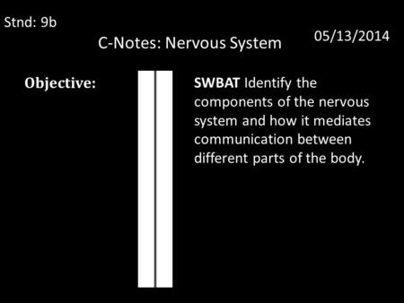 C-Notes: Nervous System Stnd: 9b 05/13/2014 Objective: SWBAT Identify the components of the nervous system and how it mediates communication between different.