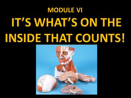MODULE VI IT'S WHAT'S ON THE INSIDE THAT COUNTS!.
