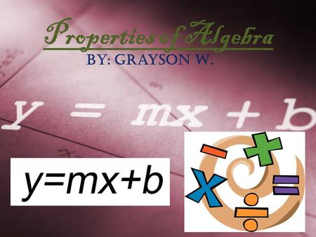Properties of Algebra By: Grayson W.. Commutative Property When you add or multiply two numbers, it does not matter what order they are in. The sum and.