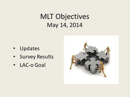 MLT Objectives May 14, 2014 Updates Survey Results LAC-o Goal.