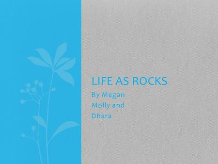 By Megan Molly and Dhara LIFE AS ROCKS. Igneous I am igneous rock and I was formed I was soon being transformed into a metamorphic or sedimentary rock.