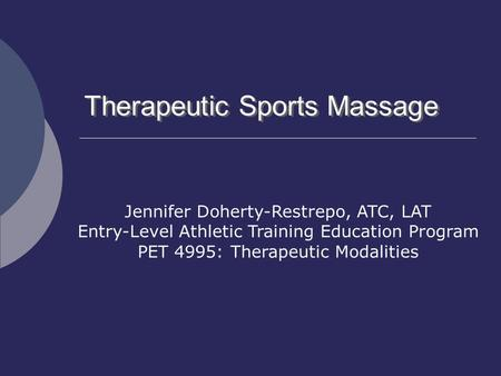 Therapeutic Sports Massage