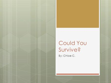 Could You Survive? By: Chloe C.. The Wilderness  How would you know what to eat and what not to eat?  Where to go and where not to go?  What lives.